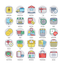 Shopping and ecommerce flat set vector