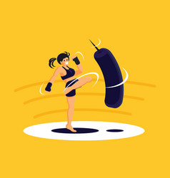 sport girl exercise muay thai training vector image