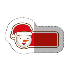 sticker shading banner with cartoon snowman vector image