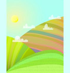 Sunny summer fields rural landscape vector
