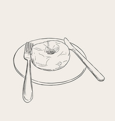sweet donut sketch on white plate vector image
