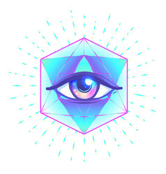 Tattoo flash eye providence masonic symbol vector