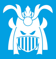Tribal helmet icon white vector