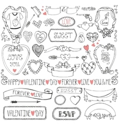 Valentines daywedding iconframesribbon decor vector image