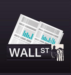Wall street new york statistics economy vector