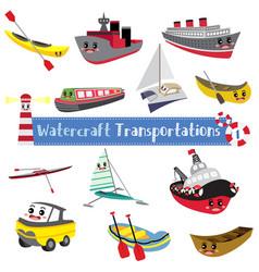 Watercraft transportations cartoon set on white vector