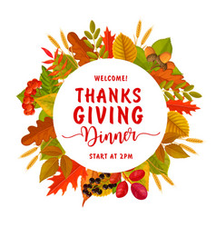 welcome thanksgiving day dinner round flyer vector image