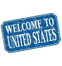 Welcome to united states blue square grunge stamp vector