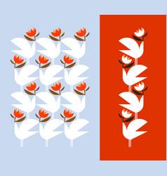 white bird holding red flower decorative design vector image