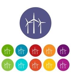 Wind turbines set icons vector