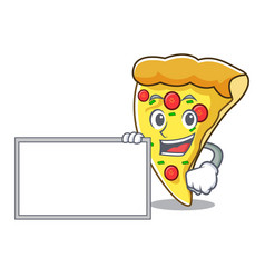 With board pizza slice character cartoon vector