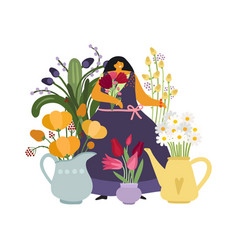 woman with flowers flower girl gardener or plant vector image