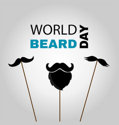 World beard day greeting card with party masks vector