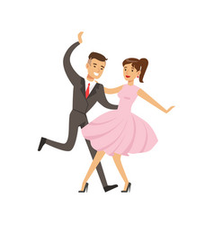 Young couple dancing boogie woogie dance colorful vector