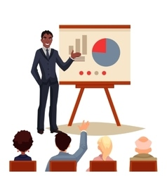 Businessman giving presentation using a board vector image vector image