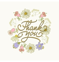 Card template with hand drawn flower border and vector image vector image