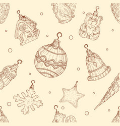 christmas toys seamless pattern in in hand drawn vector image