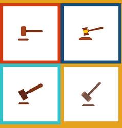 Flat icon hammer set of justice tribunal defense vector