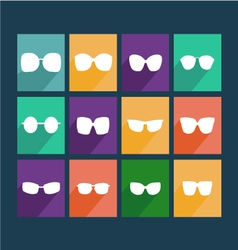 Glasses icons silhouette of sunglasses vector