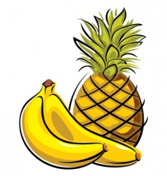 pineapple and bananas vector image vector image