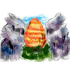 rabbits and egg vector image