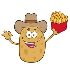 Western Potato Cartoon Holding Fries vector image