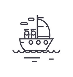 yacht sailing linear icon sign symbol on vector image vector image