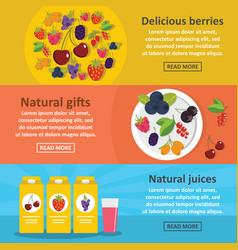 berries food banner horizontal set flat style vector image vector image