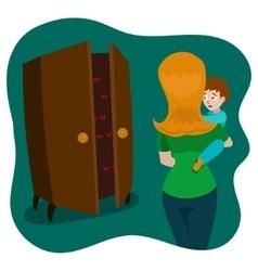 Child afraid of monsters in room cartoon vector
