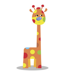 cute cartoon funny giraffe isolated on w vector image