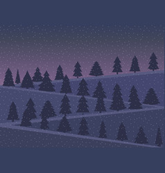 night landscape with snow-covered christmas trees vector image