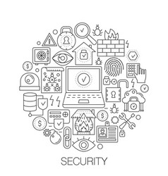 security in circle - concept line for vector image vector image