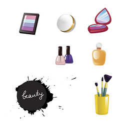 set of decorative cosmetics isolated on white vector image vector image
