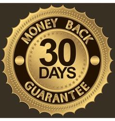 30 days Gold Money Back Guarantee Label vector image