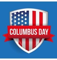 Columbus Day on USA flag shield vector image