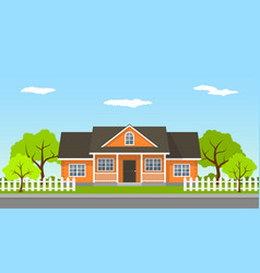 cottage house landscape vector image vector image