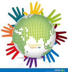 Dotted Globes with colorful hands vector image vector image