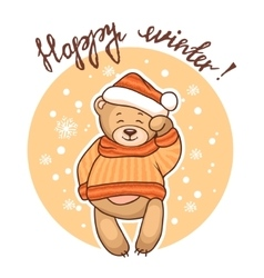 happy winter greeting card vector image vector image