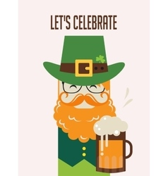 Irish man with beer St Patricks Day design vector image