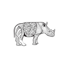 rhino drawing zentangle animal full length on vector image