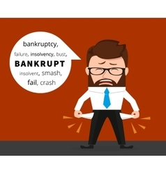 Sad business man crying because of bankruptcy vector image