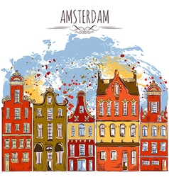 amsterdam old historic buildings vector image