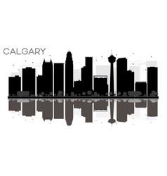 Calgary city skyline black and white silhouette vector