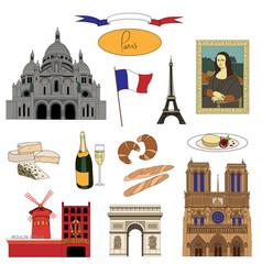 Hand-drawn paris landmarks and food colorful set vector