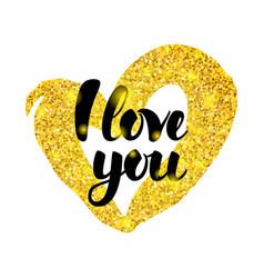 i love you gold inscription vector image