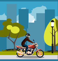 motorcyclist racing on bike in city vector image