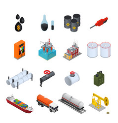 oil industry and energy resource color icons set vector image vector image