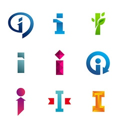 Set of letter i logo icons design template vector