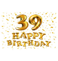 39 anniversary celebration with brilliant gold vector image