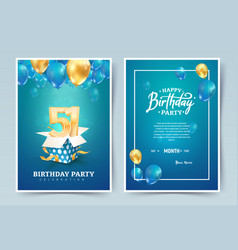 51st years birthday invitation double card vector